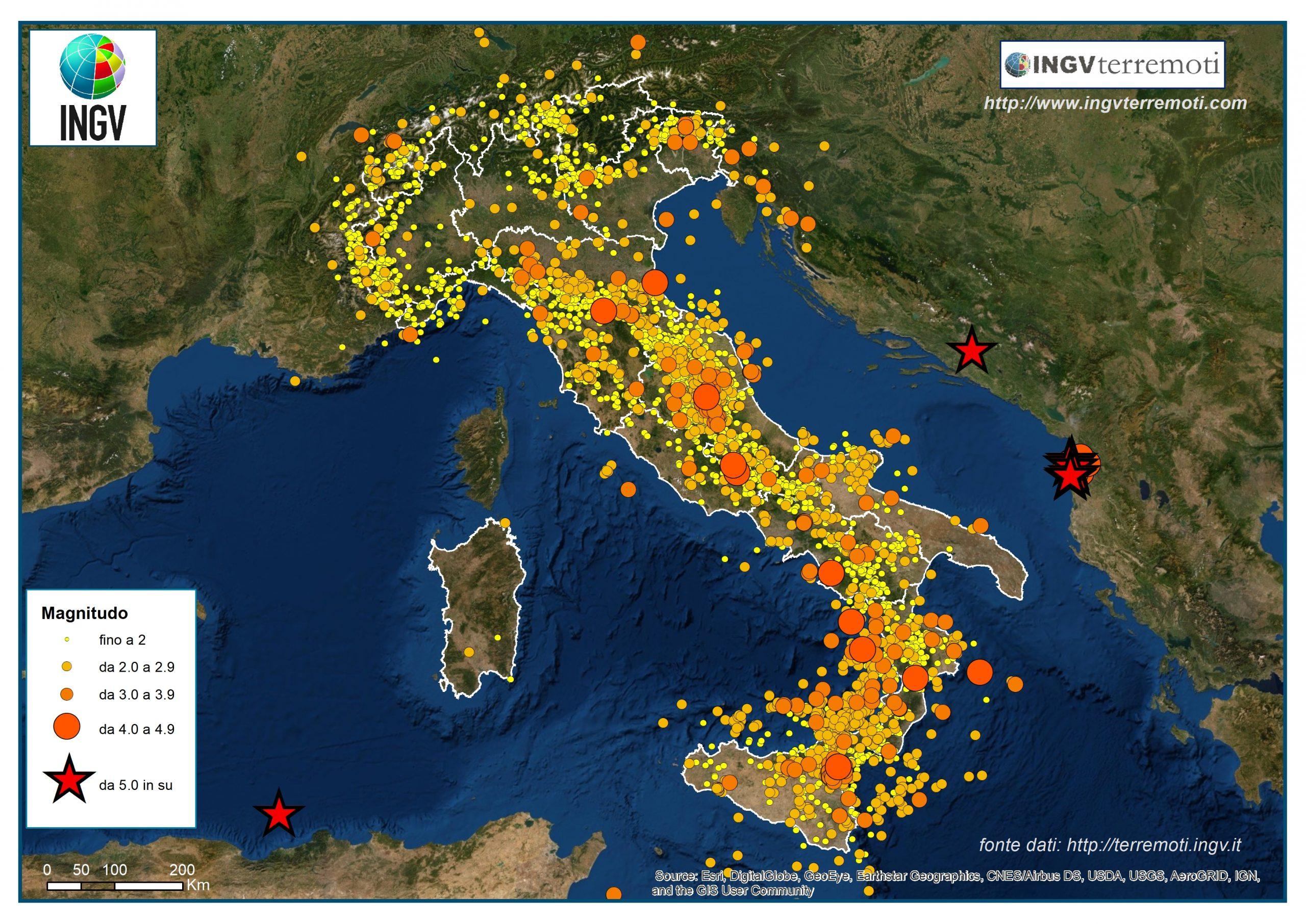 carte di rischio sismico, fonte: Istituto Nazionale di Geofisica e Vulcanologia